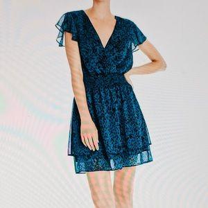 AQUA Dress Pullover Smocked Sheer S/S Pullover NWT